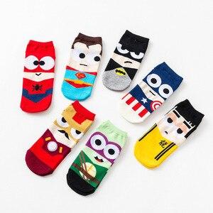 Men Sock Harajuku Novelty Cartoon Sock Ninja Batman Superman SpiderMan Captain America Avengers Cotton Short Sock Low Ankle Sock(China)