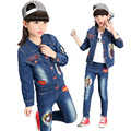 2017 Children Fashion Denim Set Spring Jacket + Pants 2PCs Set Baby Girls Suit Cartoon Set Kids Long Sleeve Denim Trousers Jeans