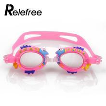 f2f0b3c9b Miúdos dos desenhos animados Crianças Ajustáveis Óculos de Natação Óculos  de Proteção Impermeável Anti-Nevoeiro