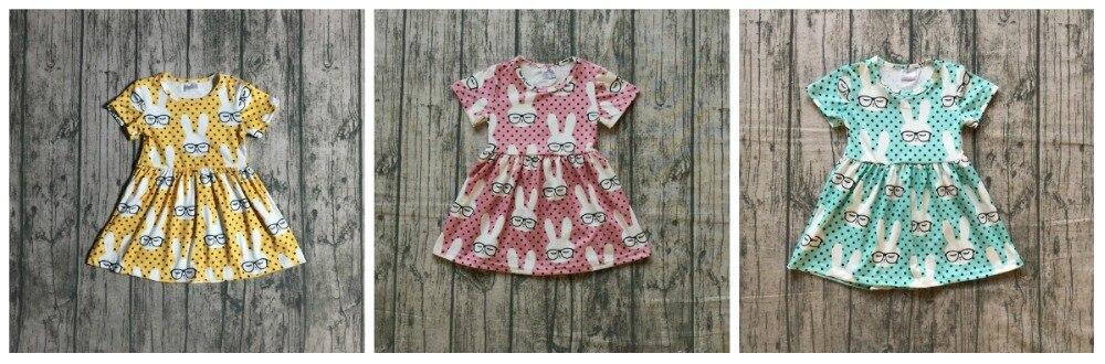 Sring/verano bebé niñas niños ropa de boutique de seda de leche, vestido de algodón, amarillo bunny gafas manga corta de la longitud de la rodilla
