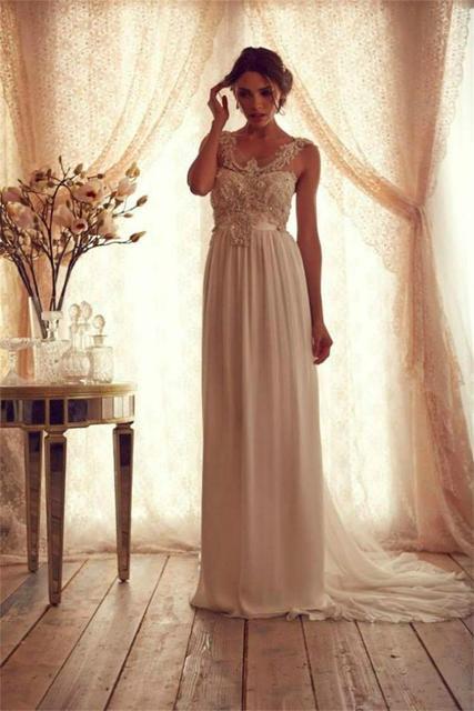 Hochzeit Kleid Chiffon Vintage Perlen Reich Schärpe muster vogue ...