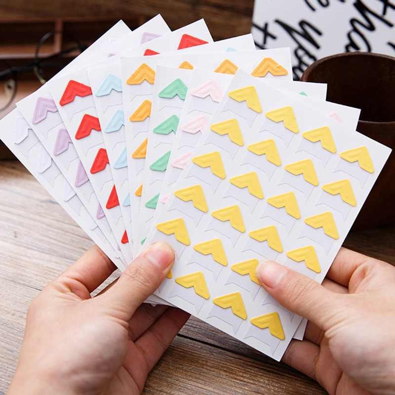 Hot Selling 9 Color  Cartoon Cute Photo Corner Stickers For Diy Baby Photo Album Or Scrapbook Album 24pcs/sheet