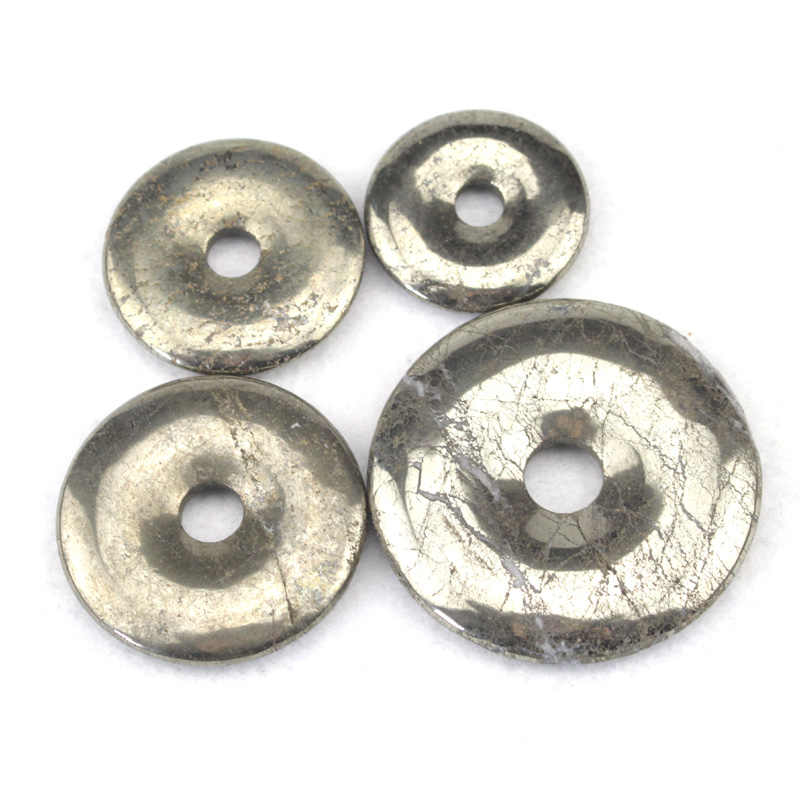 50mm  40mm  35mm 30mm Donut Shape Pendant Natural Pyrite Stone Beads Pendant DIY Loose Beads For Jewelry Making Free Shipping
