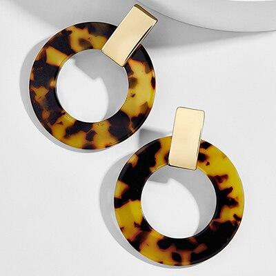 Женские леопардовые фигурные серьги ZA, висячие серьги черепаховой расцветки из акрилацетата, украшения для вечеринок - Окраска металла: 10549