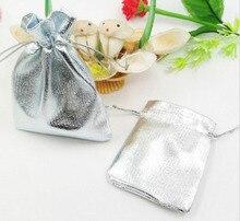 20 unids 7*9 cm bolso de lazo bolsas de mujer de la vendimia de Plata para La Boda/Fiesta/de La Joyería/de la Navidad/bolsa de Envasado Bolsa de regalo hecho a mano diy