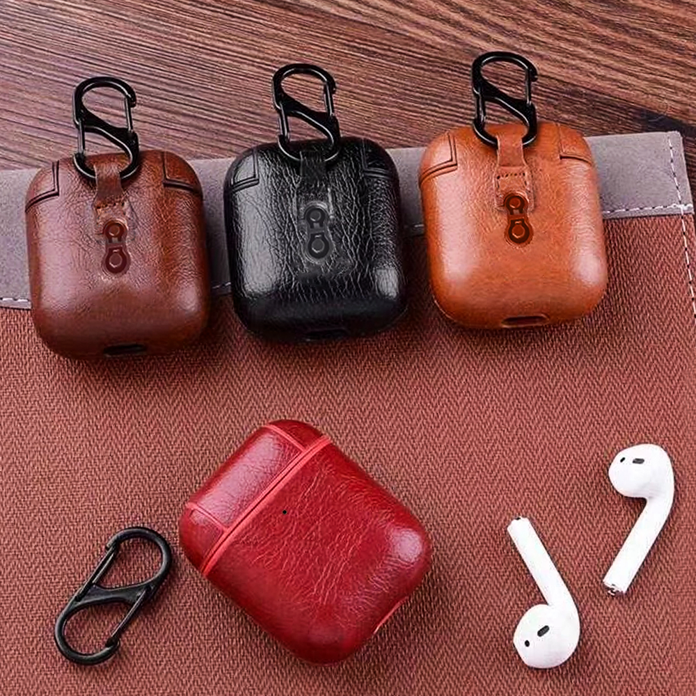 For Airpods Cases For Apple Airpods 1 2 Strap Leather Skin Headphone Case Earphone Cover For airpods leather case Accessories