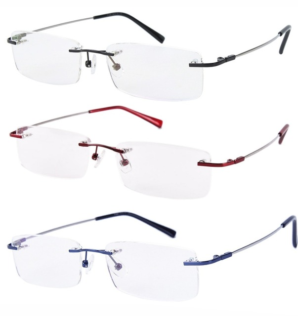 9e94bae3b5c Agstum Womens Mens Memory Titanium Alloy Rimless Spectacles Flexible Hinged  Eyeglasses Frame Optical prescription Glasses Rx