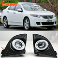 eeMrke For Honda Accord 2008-2015 COB Angel Eyes DRL Fog Lamp Lights Daytime Running Lights with H11 55W Halogen Bulbs