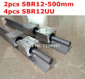 2 pcs SBR12-500mm guia linear + 4 pcs SBR12UU bloco de cnc router