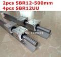 2 pcs SBR12-500mm guia linear + 4 pcs SBR12UU bloco de cnc router