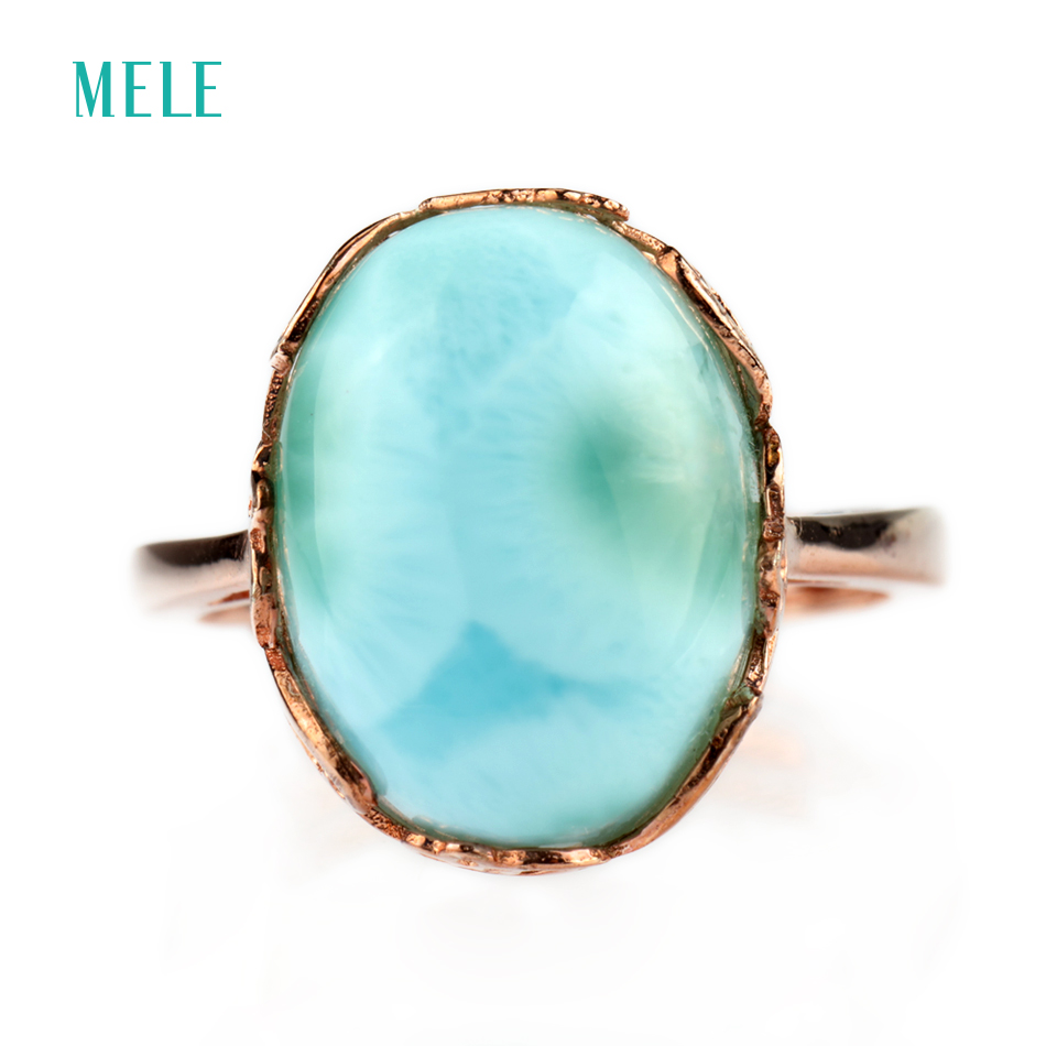 Natural larimar silver ring oval 12mm 14mm rare and beautiful blue stone fashion and popular style