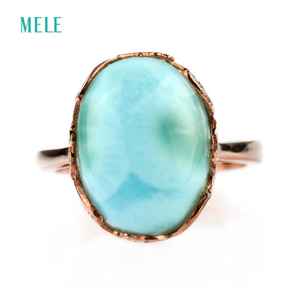 Larimar naturale anello in argento, di forma ovale 12mm * 14mm, rara e bella blu di pietra, moda e lo stile popolare