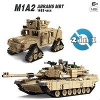 Kazi Free Sshipping 1463pcs Military Theme Tank Legos Building Blocks M1A2 ABRAMS MBT KY10000 1 Change 2 Toy Tank Models Toys