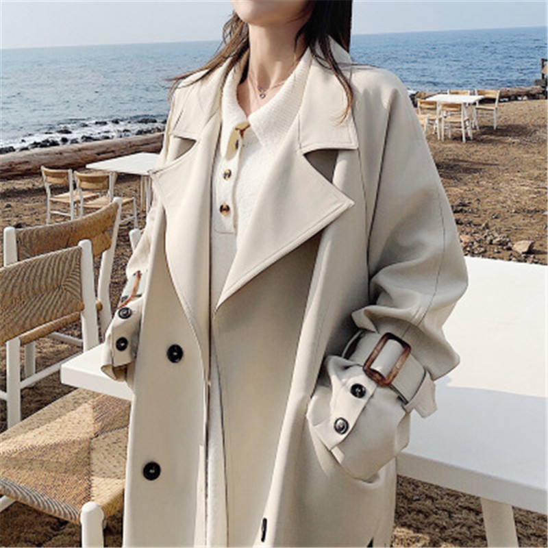 New Arrival 2019 Big Size Teenager Casual   Trench   Coat With Belt Women's Spring Autumn Long   Trench   Raincoat Female Outwear 770