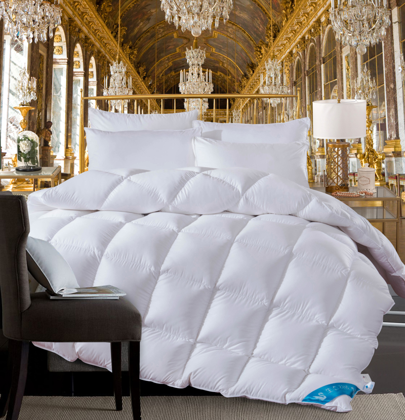 Twin Queen King size White Pink Coffee 100 Cotton goose duck down Comforter bed set Quilt