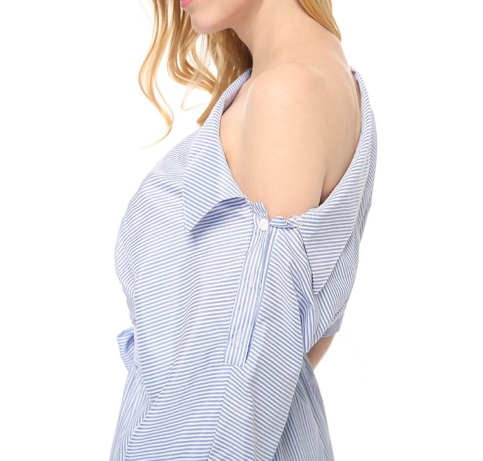 여름 여성 드레스 블루 스트라이프 셔츠 짧은 - 여성 의류 - 사진 4