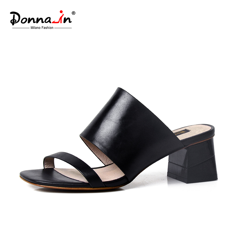 Donna-in Clearance Sale Summer Women Genuine Leather Flip Flops Slippers Thick Middle Heel Ladies Shoes for Outside Black White