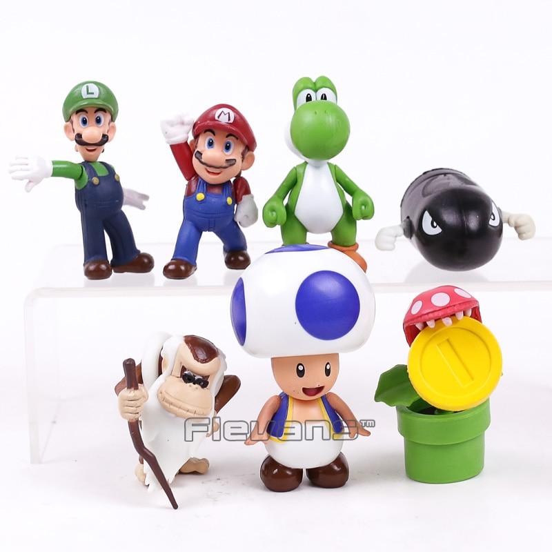 Super Mario Bros Toys 8 unids/set Mario Luigi Yoshi Toad Banzai Bill ...