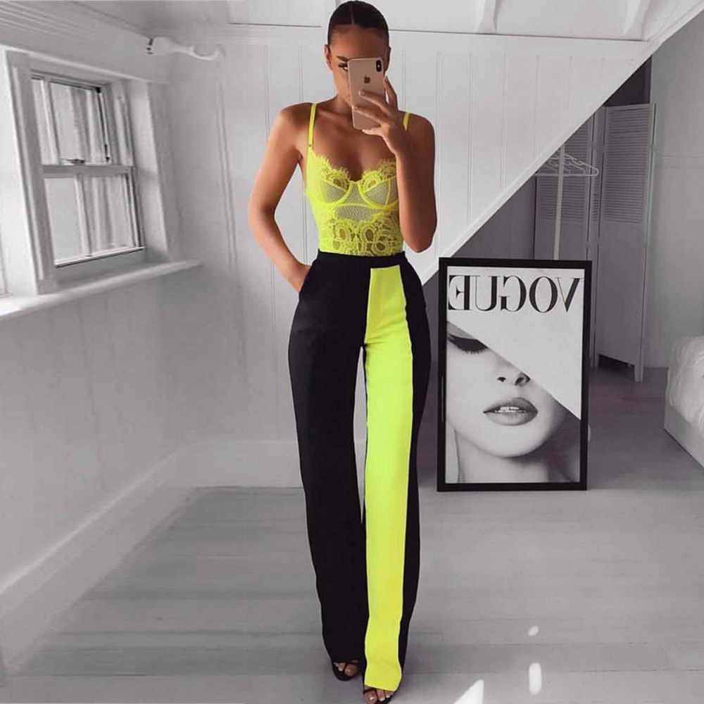 Ocstrade Green Strappy Sleeveless Lace Bodysuit And Black Maxi Bandage Pants  2 Piece Set