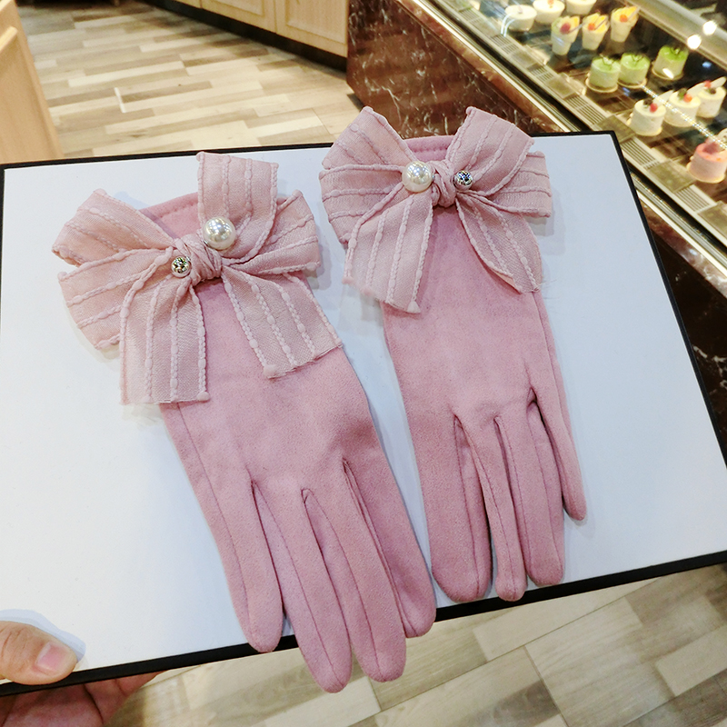 Winter Women Gloves 2017 Fashion Ladies Driving Touch Screen Gloves Warm Mitten Pink Gray Suede Full Finger Female Gloves AGB595