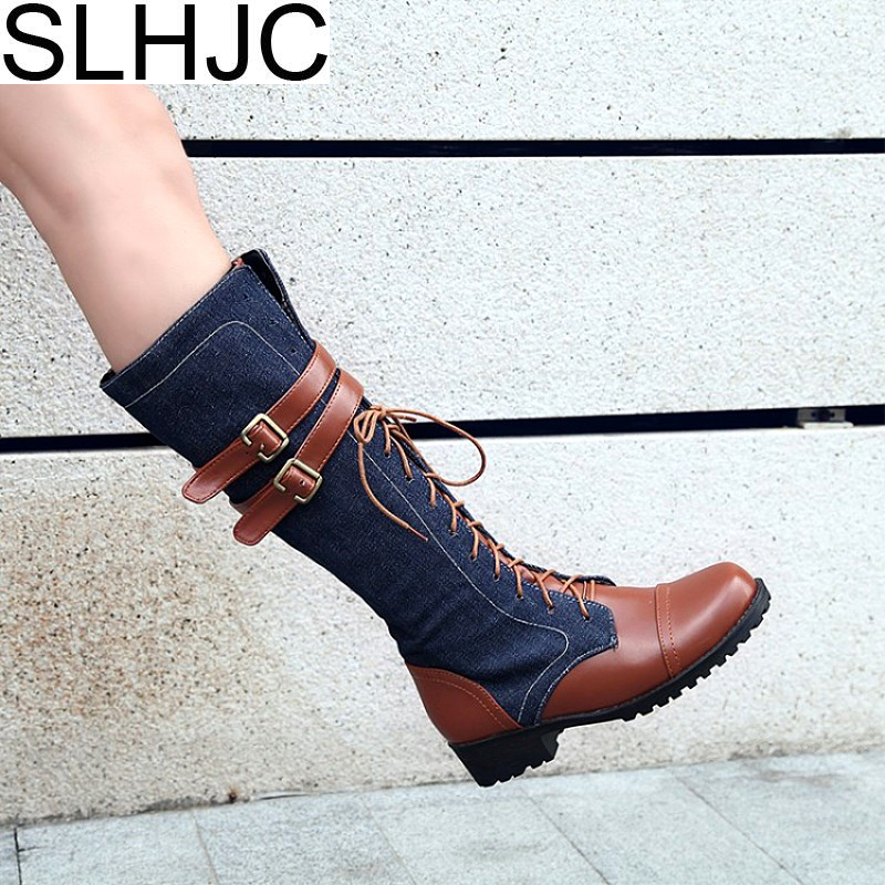 SLHJC Long Boots Leather Lace Up Summer Autumn Low Heel Leather With Jeans Fashion Casual Women Female Riding Boots Plus Size 42