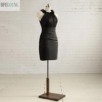 Black Straight Above Mini Cocktail Dress Sleeveless Pleat Real Original Photos Custom Made