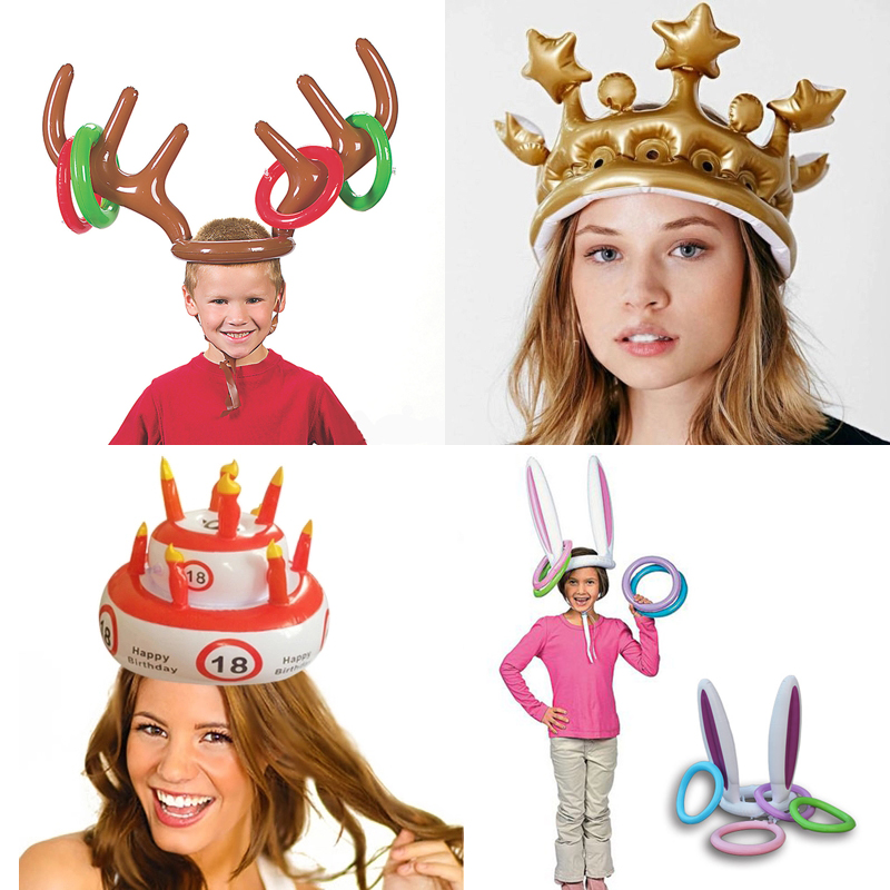 Inflatable Ring Toss Game Toys For Children Adult Kids Birthday Party Infant Hat Girls Boys Crown Christmas Wedding Novel Props