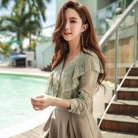 Dabuwawa 2018 New Design Elegant Shirt Butterfly Long Sleeve Shirt V neck Shirt Lace Shirt Office Lady Style