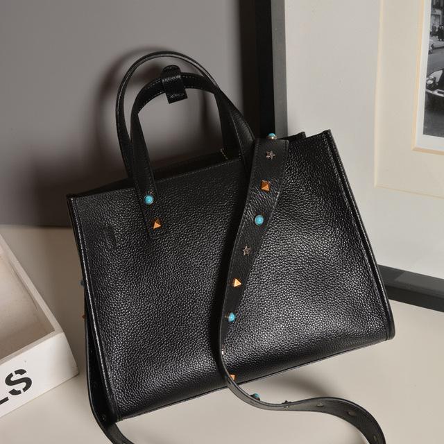 Vintage Fashion Women Tote Handbags Genuine Soft Cow Leather Slide Bag
