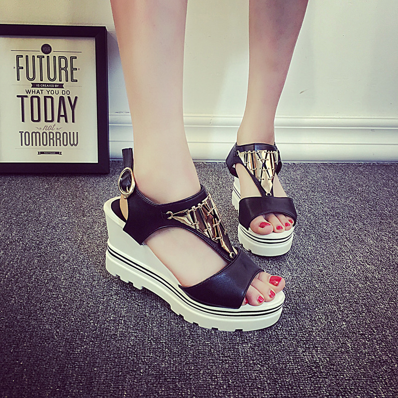 Superior Qality Summer style comfortable Bohemian Wedges Women sandals for Lady shoes high platform open toe flip flops