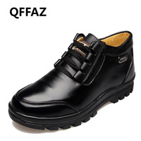 QFFAZ Men Boots With Fur 2018 Warm Snow Boots Men Winter Work Shoes Footwear Fashion Male