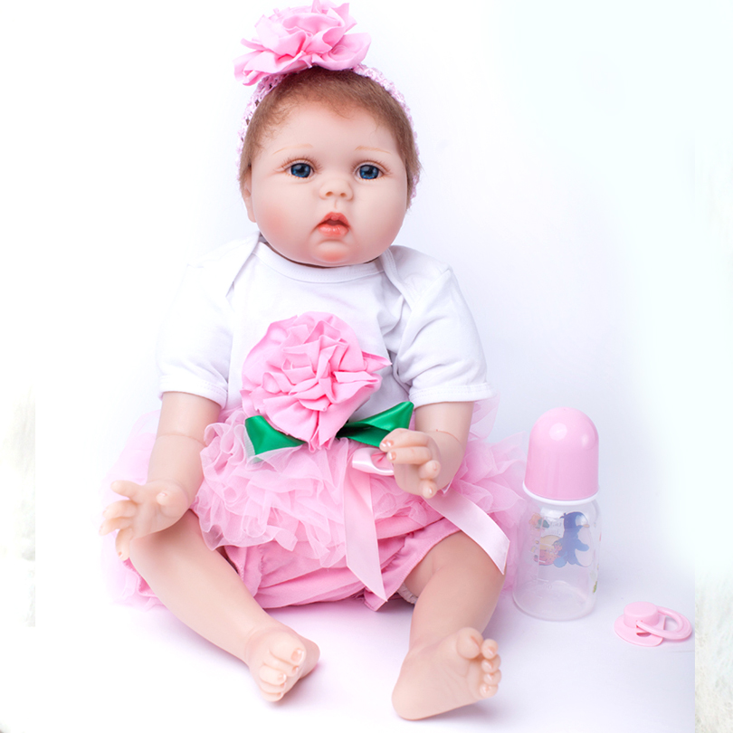 2017 New 20 Inches Sweet Fashion Toy Happy Girl Dolls 50cm Soft Doll Reborn Baby love Toys Pink Birthday Gift for Girl 22 inches sweet girl dolls brown hair 55cm doll reborn baby lovely toys cute birthday gift for girls as american girl
