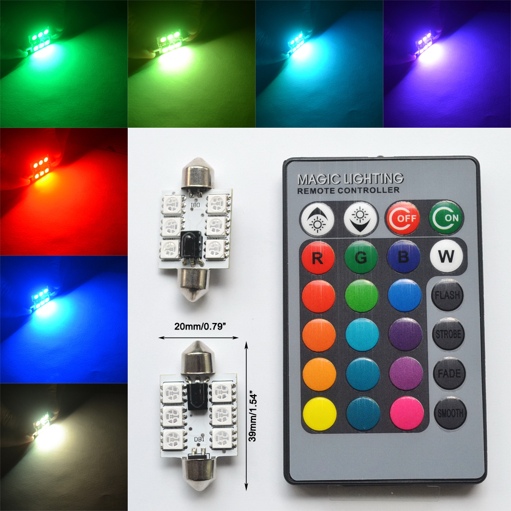 2pcs RGB 5050 6SMD Festoon Light c5w Dome Light Car Led Automobile Auto Remote Controlled Colorful Reading Lamp Roof trunk Bulbs guangdian car led light auto interior light kit roof vanity light glove foot trunk cargo lamp t10 festoon for kia ceed 2006 2015
