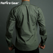 ReFire Gear Army Camouflage Military Shirt Men Waterproof SWAT Combat Tactical Shirts Spring Outerwear Many Pockets Cargo Shirt