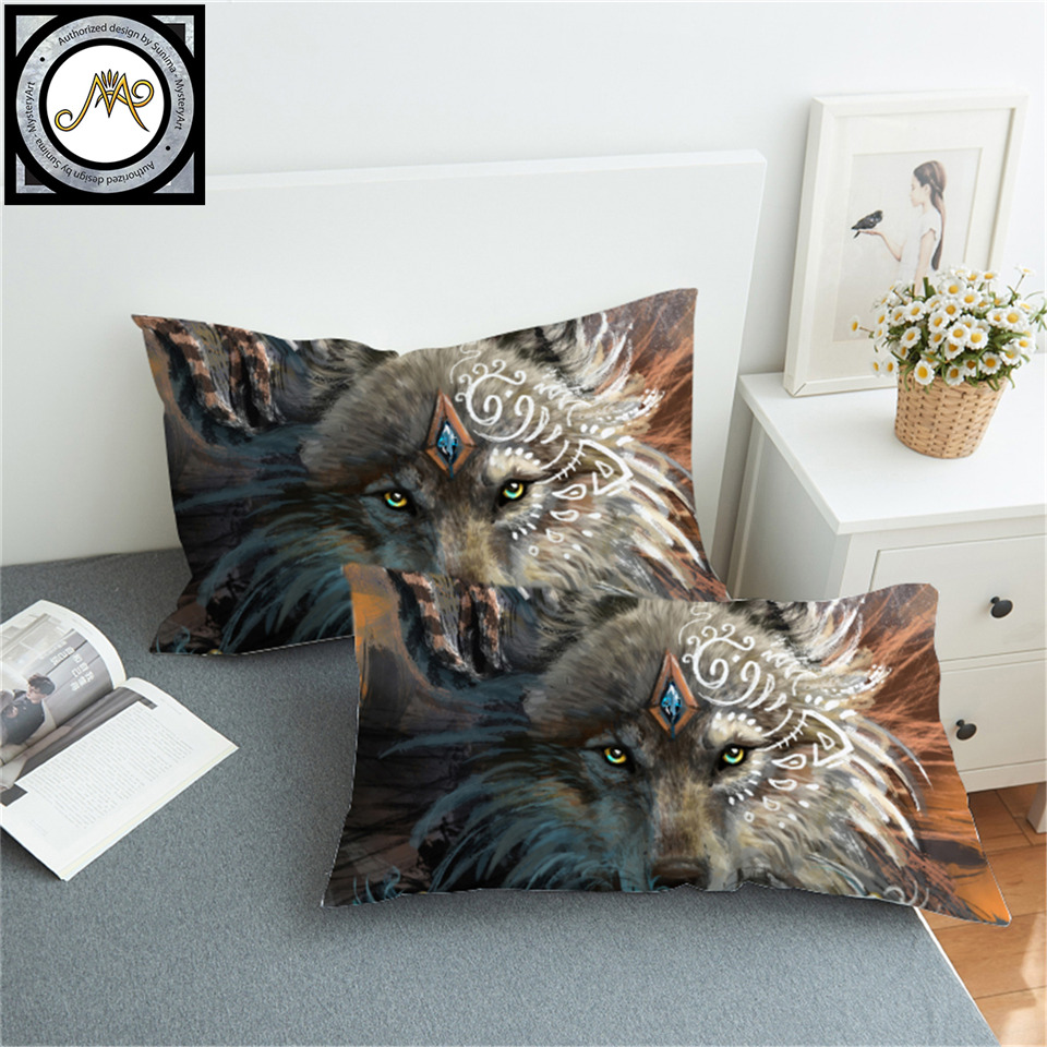 Wolf Warrior by SunimaArt Pillowcase Native American Pillowcase With Feather Dreamcatcher Bedding Indian Wolf Pillow Cover 2pcs