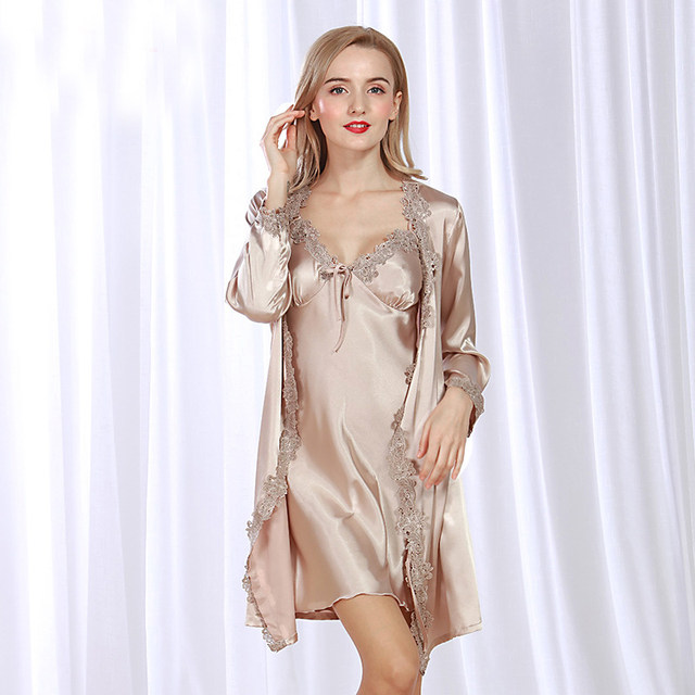 SSH073 2017 New Spring Summer Autumn Lingerie Sexy Robe and Gown Set Femme  Lace Sleepwear Bathrobe and Gown Satin Silk Nightwear 49094945c