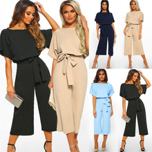 Women's Summer Short Sleeves Elegant Playsuit Wide Leg Jumpsuit Romper with Belted self belted wide leg shorts