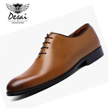 DESAI Men's Business Formal Dress Shoes With Comfortable Cow Leather Shoes Classic Retro British Style Shoes for Men Oxfords - DISCOUNT ITEM  30% OFF All Category
