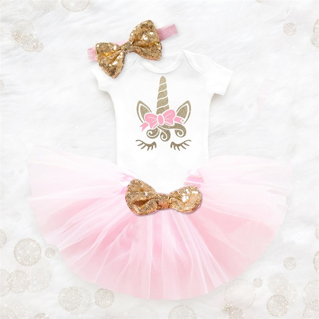 Unicorn Party Baby Girls Dress 2019 Summer Infant Party Dresses 1 2 Year Birthday Dress For Baby Girl Newborn Cake Smash Outfits