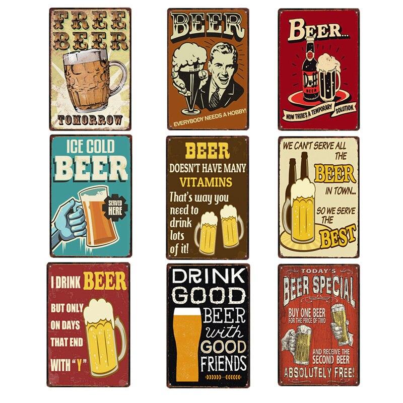 poster beer signs vintage plaque bar decoration metal. Black Bedroom Furniture Sets. Home Design Ideas