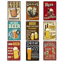 Poster Beer Signs Vintage Plaque Bar Decoration Metal Plates For Wall Shabby Chic Home Decor 20x30 cm(China)
