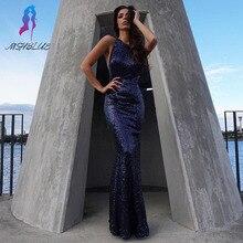 2017 Marineblau Sequin Nixe-abschlussball Lang Abendkleid Kleid Halter Zurück Kreuz Bodenlangen Vestido De Festa