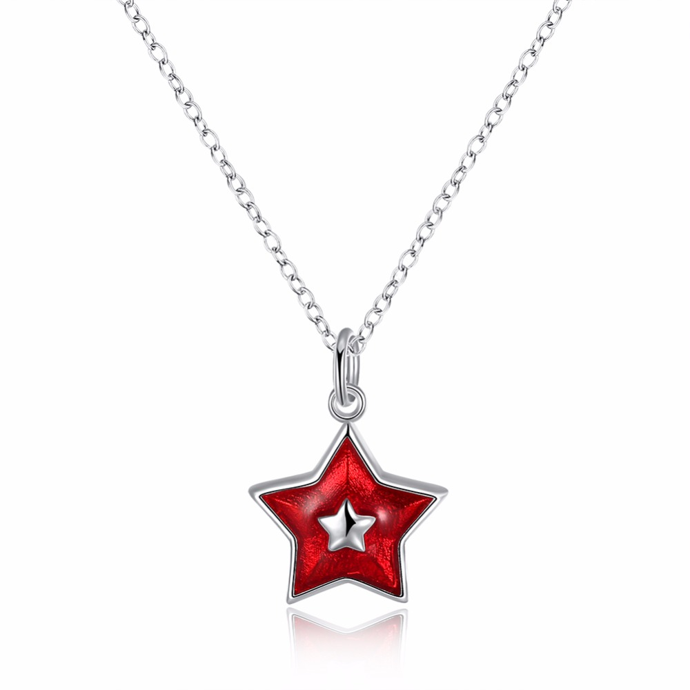 Free Shipping Fashion 925 Sterling Silver Necklace Enamel Red Fivepointed  Star Pendant Necklace Christmas