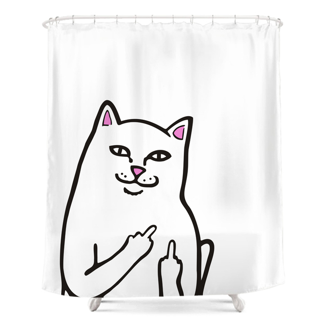 New Middle Finger Cat Shower Curtain Fashion Bath Waterproof And Washable Fabric With Hooks