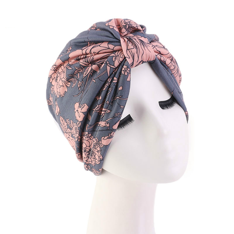 2020 Muslim Print Stretch Turban Ruffle Hair Hats Beanie Bandanas Scarf Head Wrap Headwear For Women