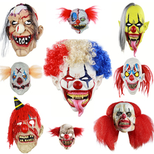 Deluxe Horrible Scary Clown Mask Adult Men Latex White Hair Halloween Evil Demon Big Mouth Red