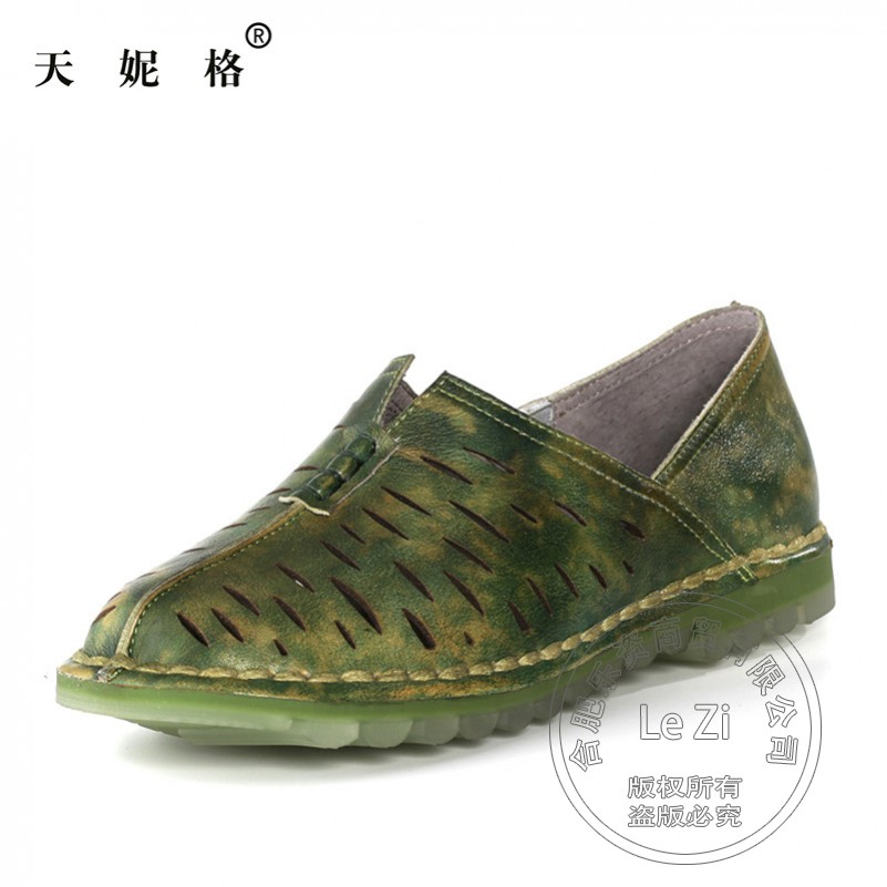 Ethnic Pure Color Nature Genuine Leather Loafers font b Women b font Pig Leather Summer Shoes
