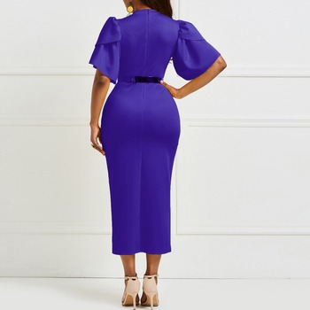 Evening Party Date Women Vintage Ruffle Yellow Blue Purple Bodycon Dress Office Lady Work Day Plus Size Midi Long Skinny Dresses 6