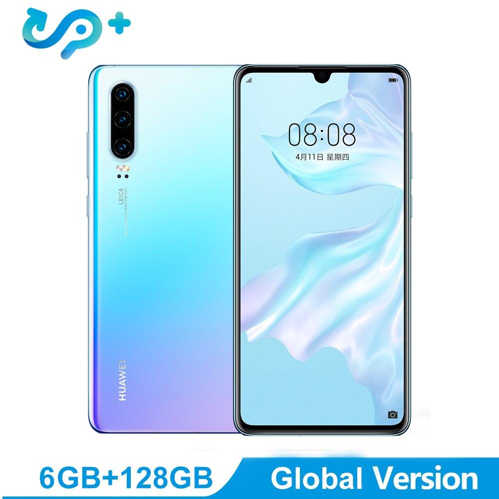 Version mondiale P30 téléphone portable 6.1 pouces OLED écran 6 GB RAM 128 GB ROM Support NM carte mémoire OTG double carte SIM Smartphone