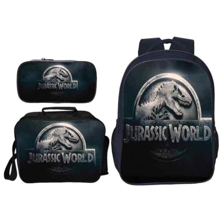 3 pçs/set Venda Quente Impressão Animais Mundo Jurássico Dinossauro Meninos Mochila para Crianças Mochila Da Escola Dos Miúdos Sacos para a Menina Bookbag